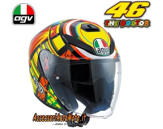 Agv K5 Jet Elements Valentino Rossi Motorcyle Helmet Carbon Glass