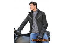 Giacca moto in Softshell Jollisport Duke Nero
